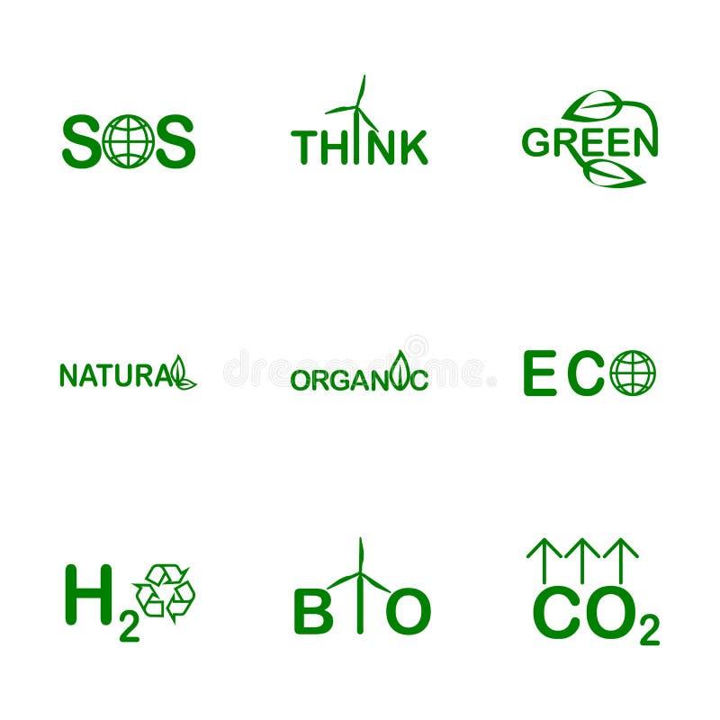 Ord på ett miljö- tema Organisk, bio, naturlig grön designmall vektor illustrationer