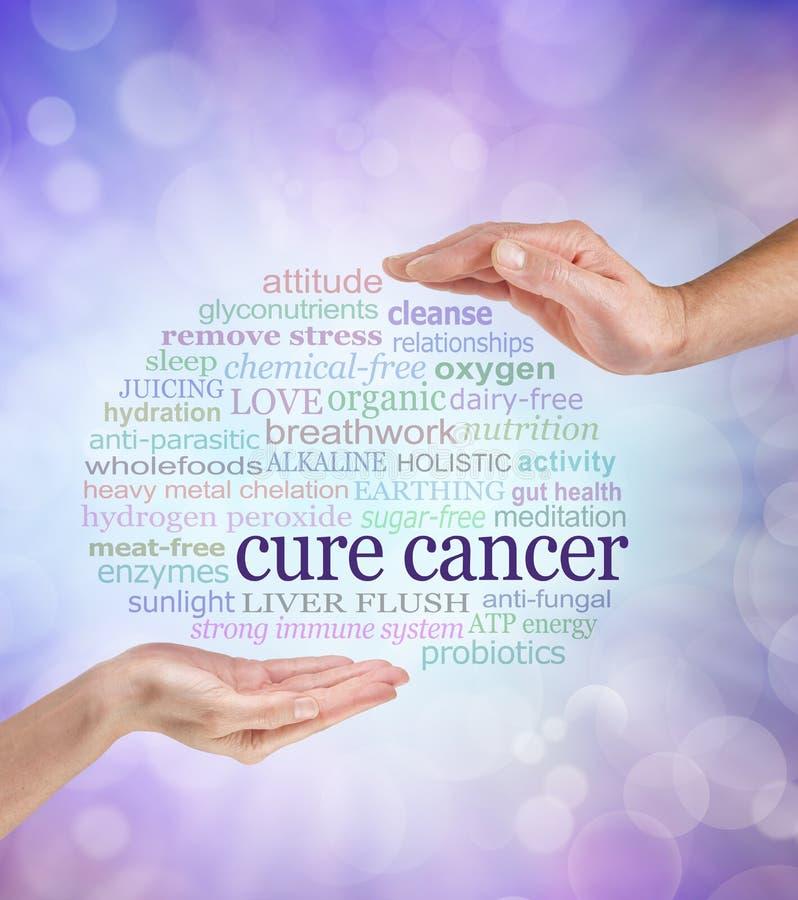 Ord som förbinds med holistiska cancerböter royaltyfri bild