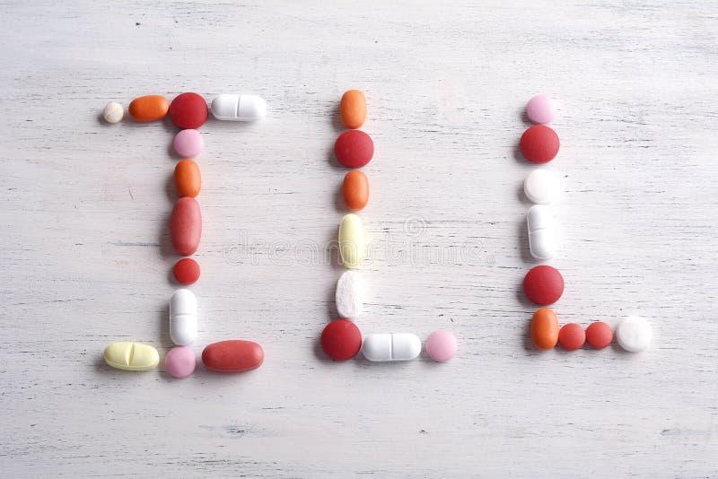 Ord som göras DÅLIGT med preventivpillerar arkivbilder