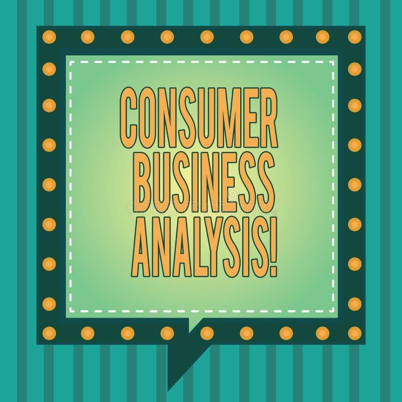 Ord som skriver analys för textkonsumentaffär Affärsidéen för information på målmarknaden s är mot efterkrav behov kvadrerar royaltyfri illustrationer
