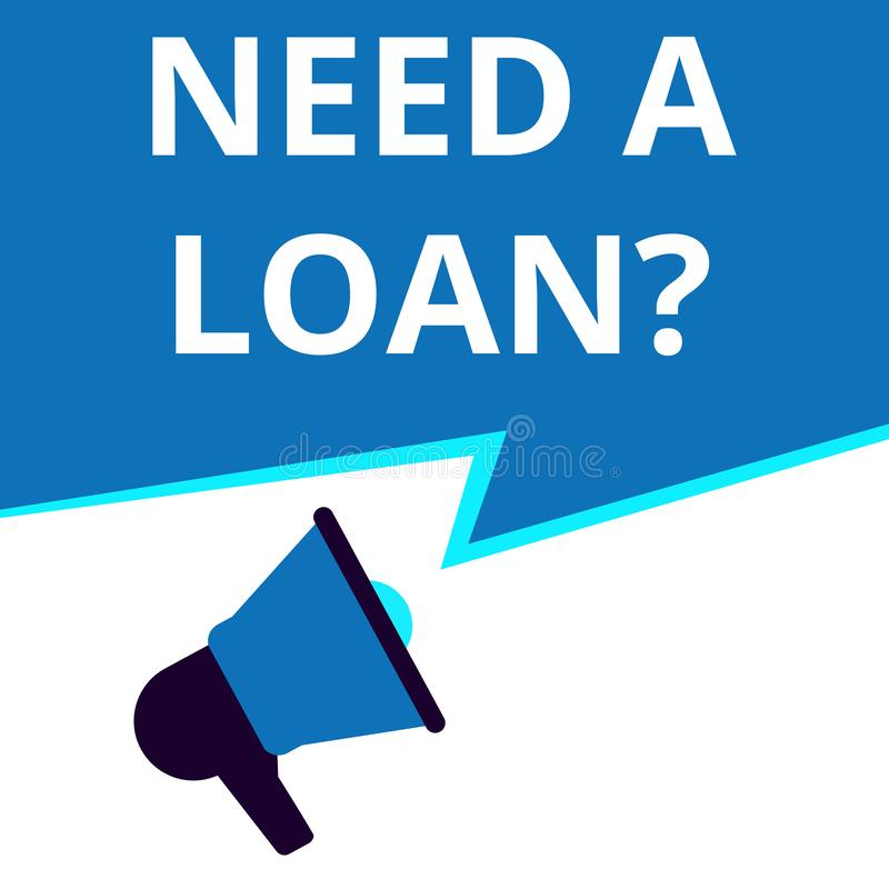 Ord som skriver behov en lånfråga vektor illustrationer
