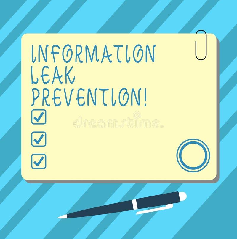 Ord som skriver för informationsläcka om text förhindrande Affärsidé för förhindring av kritisk information till utflödemellanrum stock illustrationer