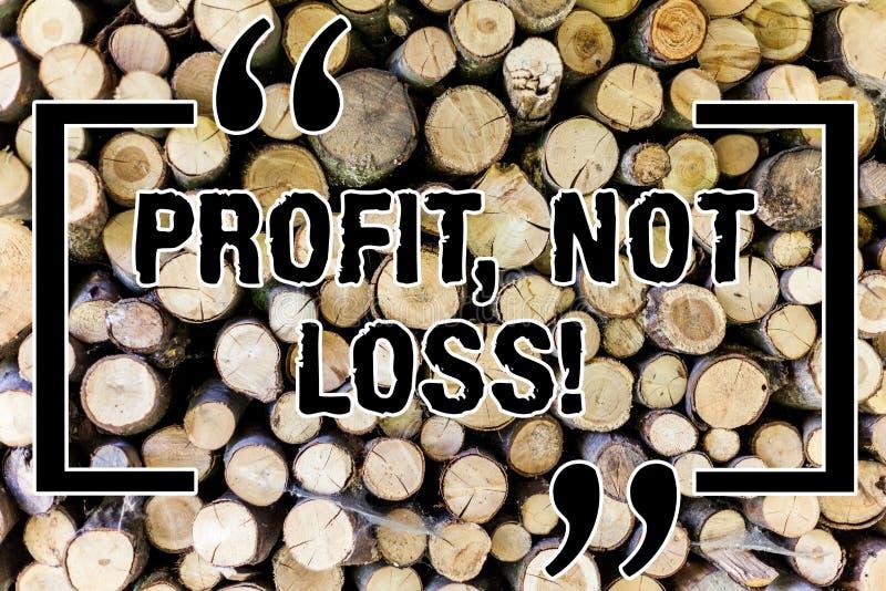 Ord som skriver förlust för textvinst inte Affärsidé för trälyckade finanser för rättvis strategi för intäkter bra ekonomisk royaltyfria bilder