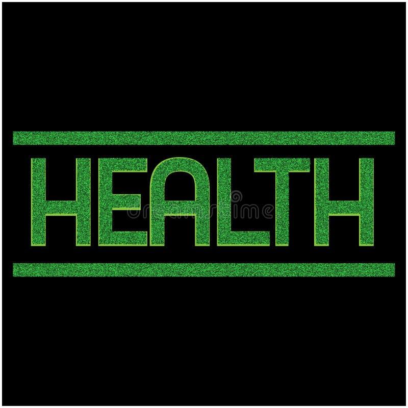 Ord som skriver HÄLSA Vektorillustrationbegrepp för naturhälsa stock illustrationer