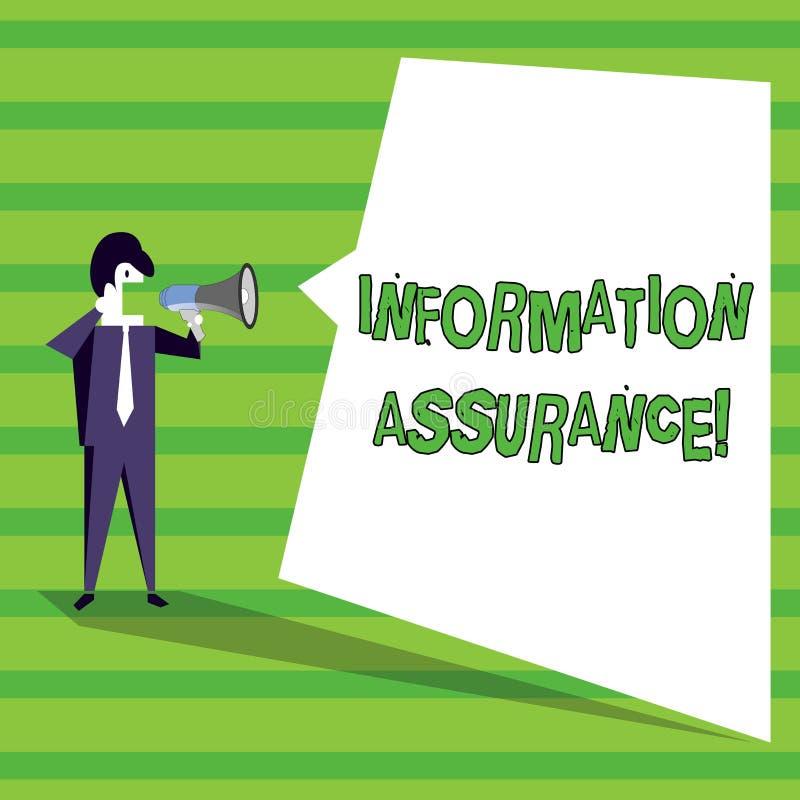 Ord som skriver informationsförsäkring om text Affärsidé för processen av att skydda information från att ses stock illustrationer