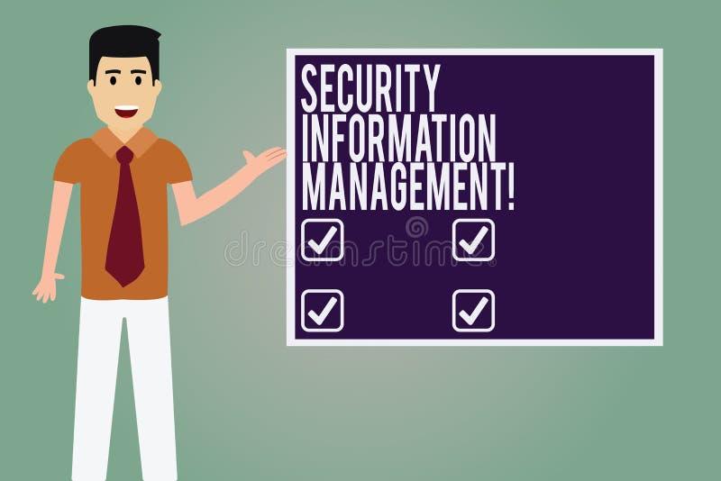 Ord som skriver ledning för information om textsäkerhet Affärsidé för att samla och analysering av mannen för säkerhetsdatajourna royaltyfri illustrationer