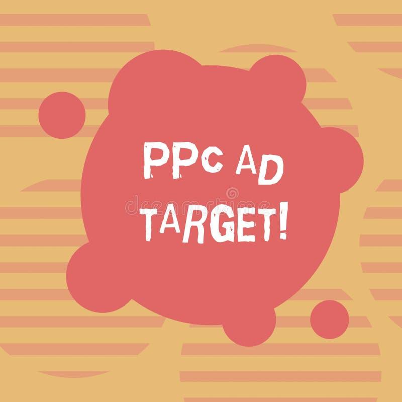 Ord som skriver målet för textPpc-annons Affärsidé för lön per klicken som annonserar mellanrumet för aktion för marknadsföringss stock illustrationer