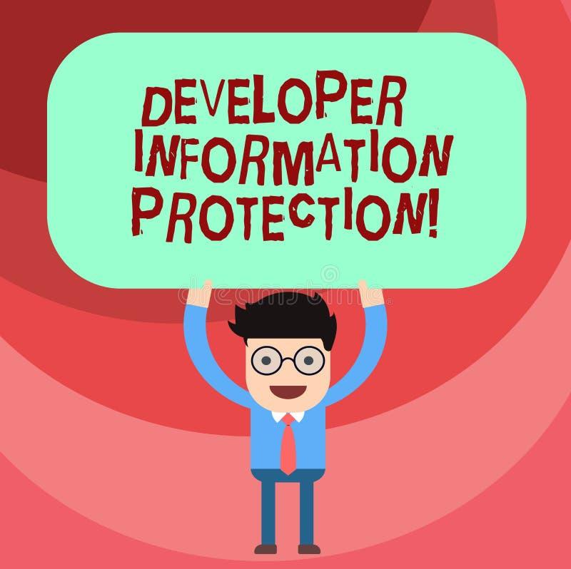 Ord som skriver skydd för information om textbärare Affärsidé för viktig information om säkerhet från förlustman royaltyfri illustrationer