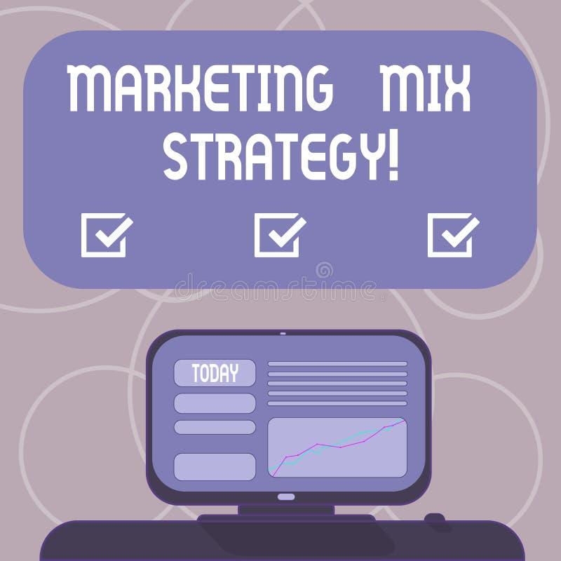 Ord som skriver strategi för textmarknadsföringsblandning Affärsidé för uppsättning av governable taktiskt företagsbruk för markn vektor illustrationer