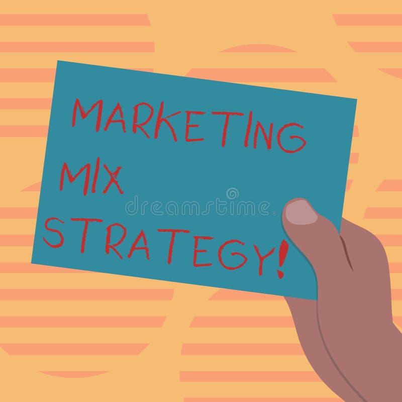 Ord som skriver strategi för textmarknadsföringsblandning Affärsidé för uppsättning av governable taktiskt företagsbruk för markn royaltyfri illustrationer