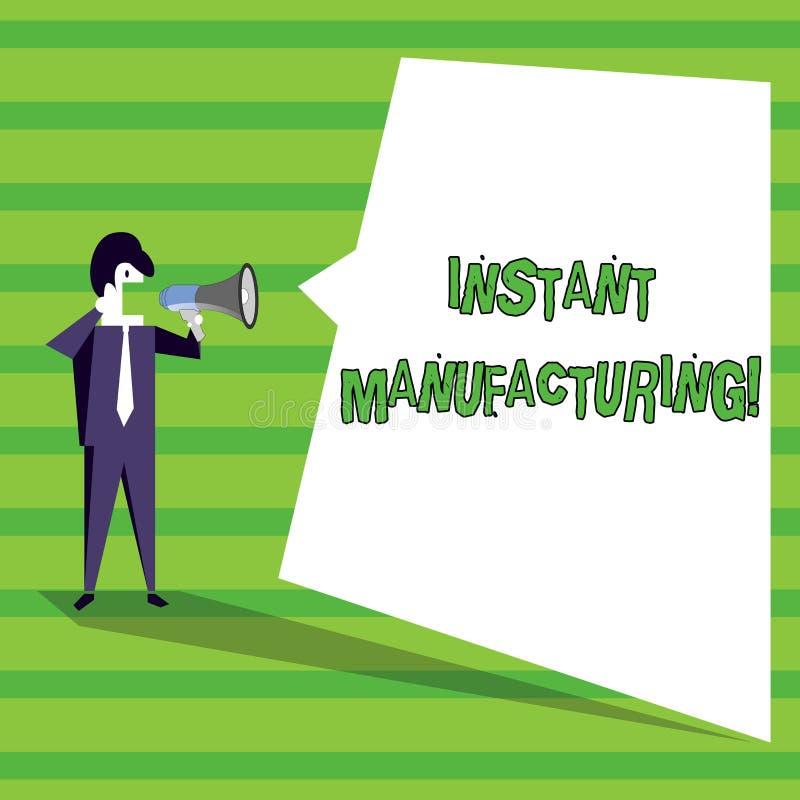 Ord som skriver text ögonblicklig tillverkning Affärsidé för maskiner som gör produkter direkt från digital mapp vektor illustrationer