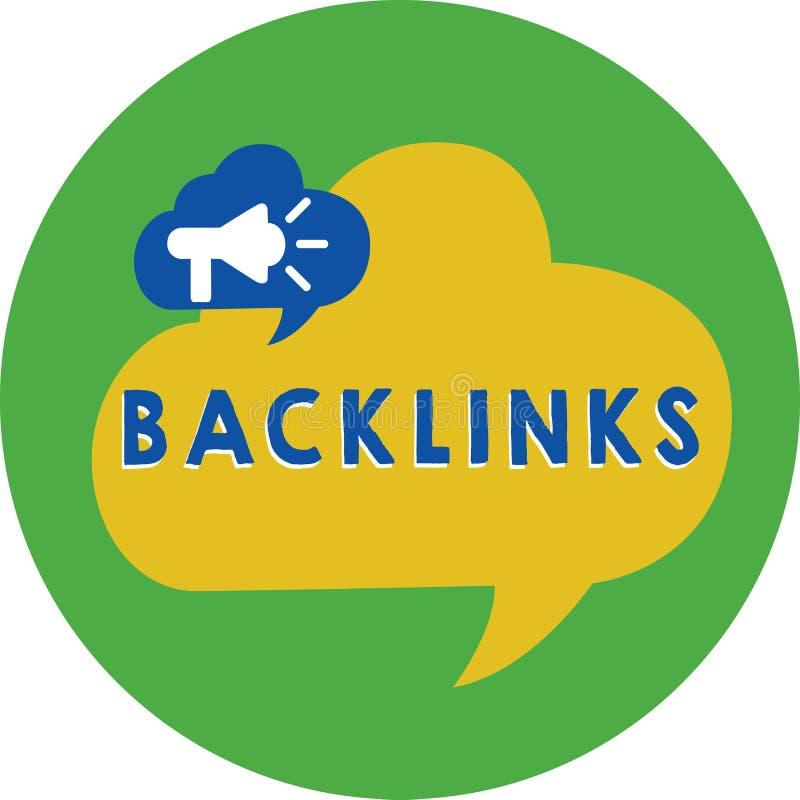 Ord som skriver text Backlinks Affärsidé för inkommande hyperlink från en webbsida till en annan stor websitemegafon vektor illustrationer