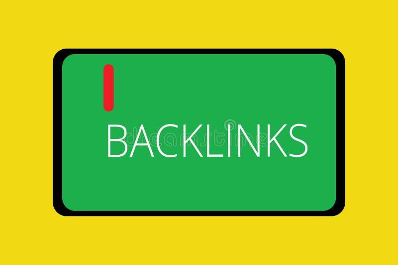 Ord som skriver text Backlinks Affärsidé för inkommande hyperlink från en webbsida till en annan stor websiteminnestavla royaltyfri illustrationer