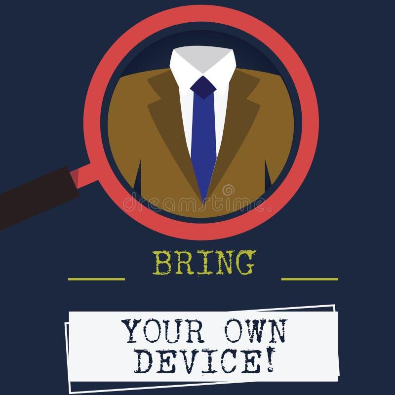 Ord som skriver text Bring Your Own Device Affärsidé för Come med demonstratingal förstoring för datorbärbar datorsmartphone vektor illustrationer