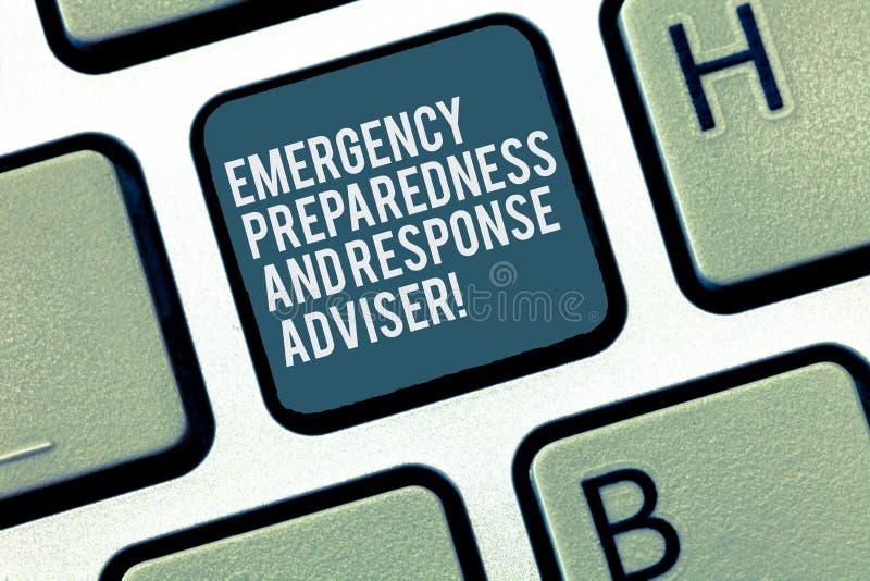 Ord som skriver text den nöd- beredskap- och svarskonsulenten Affärsidéen för förbereds för nödlägetangentbord arkivbilder