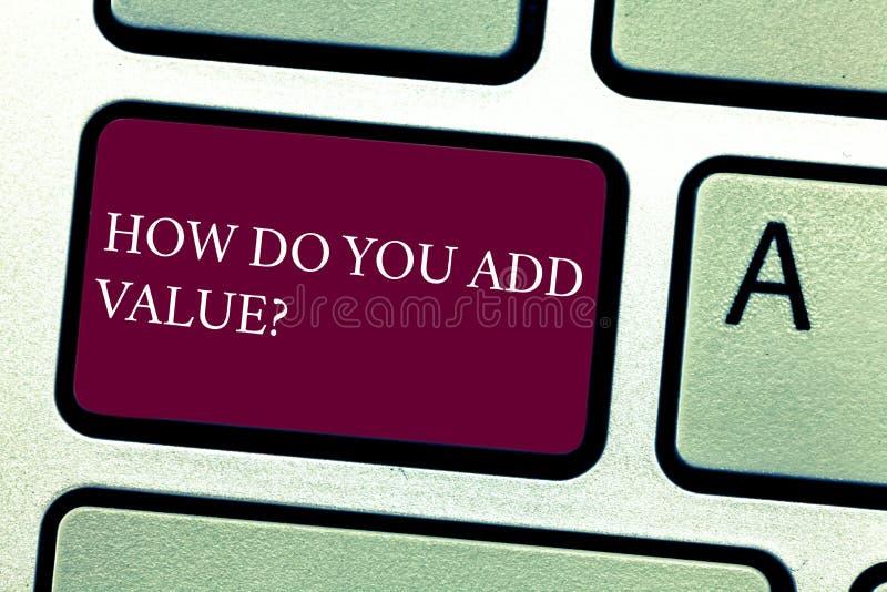 Ord som skriver text hur du tillfogar Valuequestion Affärsidéen för Bring affärsframsteg att bidra tjänar tangentbordet arkivfoton