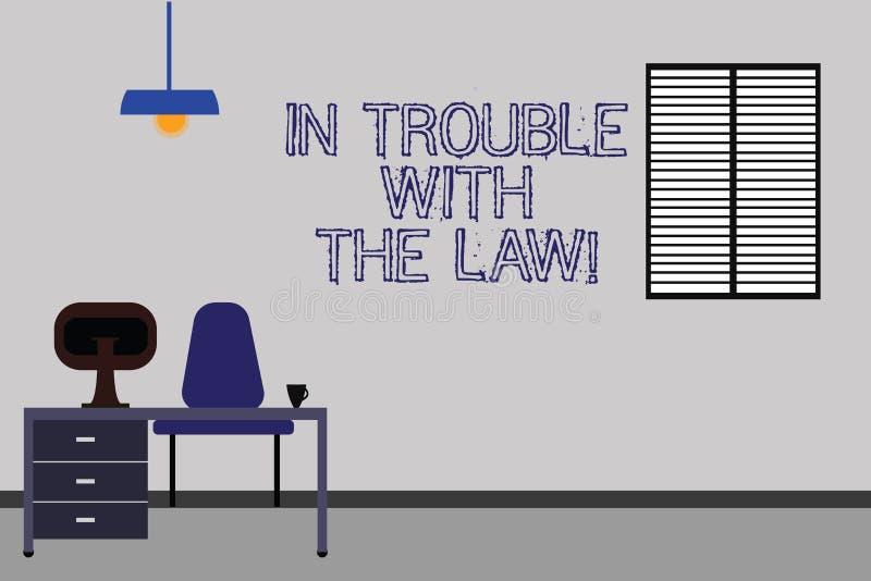 Ord som skriver text i problem med lagen Affärsidé för frågor för rättvisa för brottsliga handlingar för lagliga problem brotts- vektor illustrationer