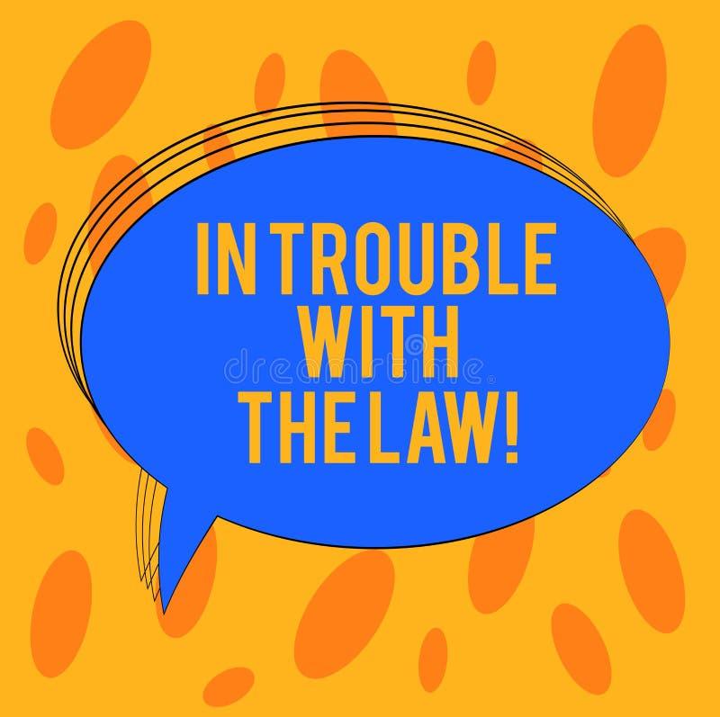 Ord som skriver text i problem med lagen Affärsidé för frågor för rättvisa för brottsliga handlingar för lagliga problem brotts- stock illustrationer
