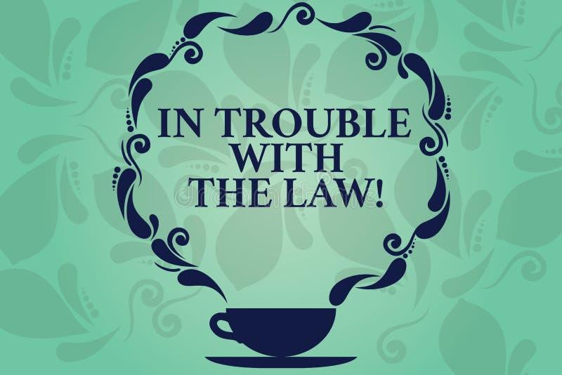 Ord som skriver text i problem med lagen Affärsidé för kopp för frågor för rättvisa för brottsliga handlingar för lagliga problem vektor illustrationer