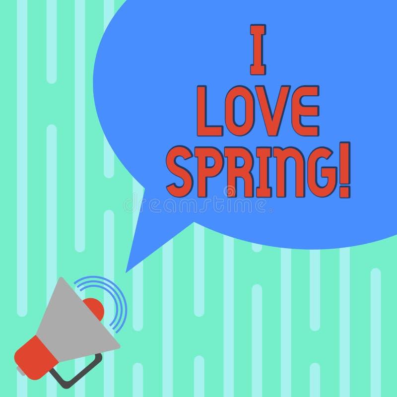 Ord som skriver text mig förälskelsevår Affärsidé för affektion för säsong av året var det finns lotten av blommamegafonen med stock illustrationer
