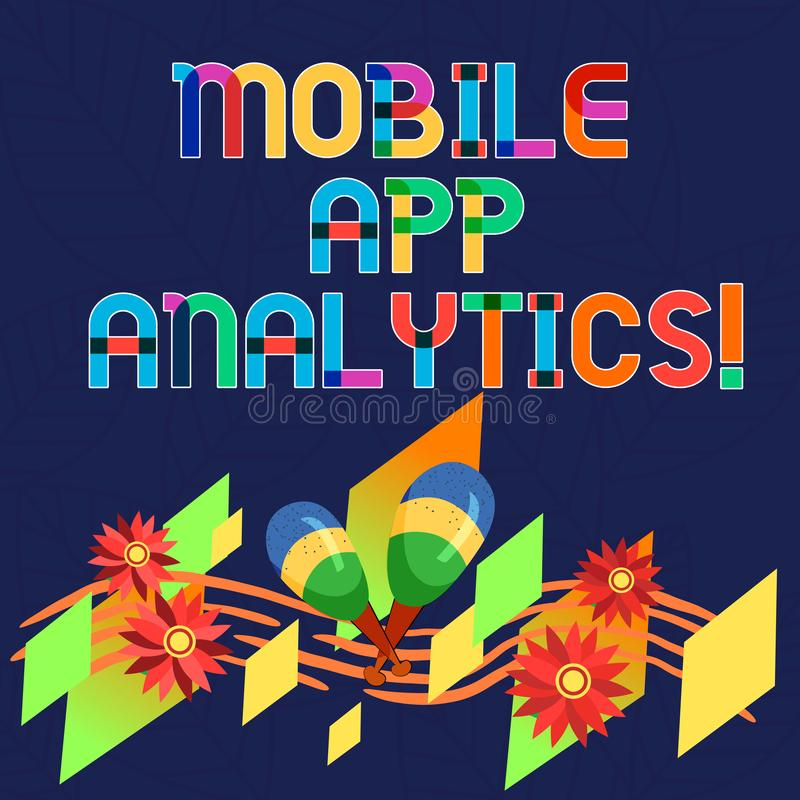 Ord som skriver text mobil AppAnalytics Affärsidé för Apps som analyserar data som frambrings av mobila plattformar royaltyfri illustrationer
