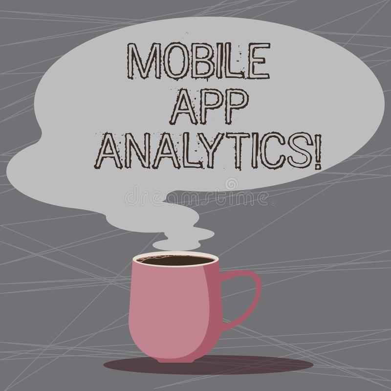 Ord som skriver text mobil AppAnalytics Affärsidéen för Apps, som analyserar, data som frambrings av mobila plattformar, rånar royaltyfri illustrationer