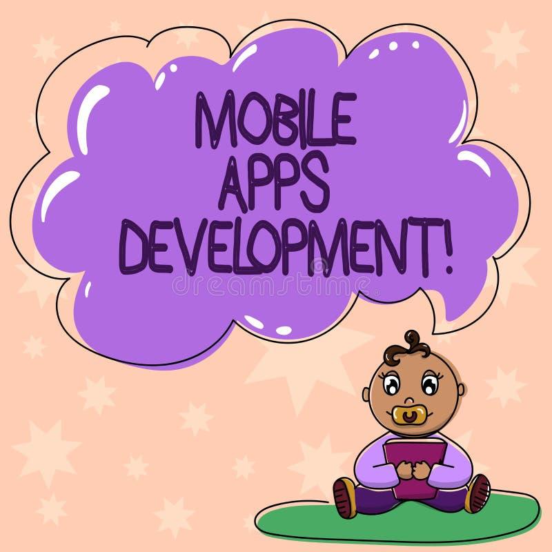 Ord som skriver text mobil Appsutveckling Affärsidéen för process av att framkalla den mobila appen för digitala apparater behand vektor illustrationer