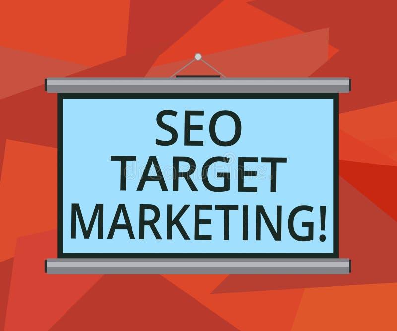 Ord som skriver text Seo Target Marketing Affärsidé för att förbinda med en specifik grupp inom det marknadsmellanrum stock illustrationer