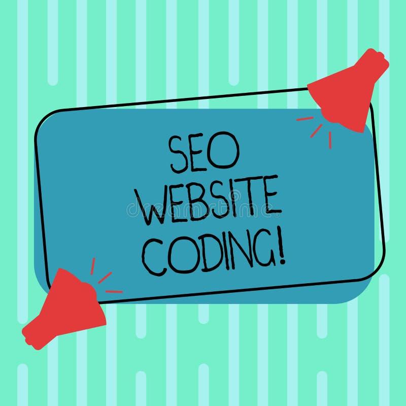 Ord som skriver text Seo Website Coding Affärsidé för att skapa platsen i väg för att göra den synligare för att söka motor två vektor illustrationer