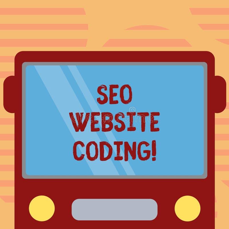Ord som skriver text Seo Website Coding Affärsidé för att skapa platsen i väg för att göra den synligare för att söka den utdragn vektor illustrationer