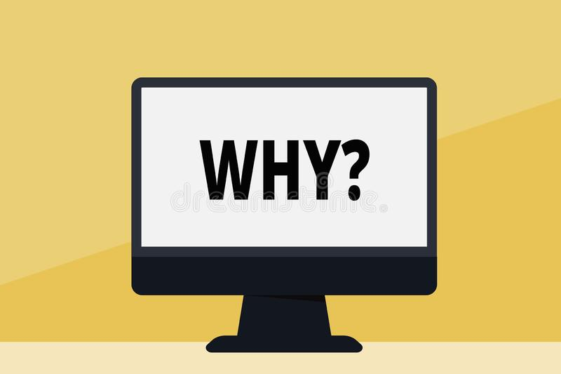 Ord som skriver text Whyquestion Affärsidéen för att fråga för specifika svar av något förhör frågar mellanrumet stock illustrationer