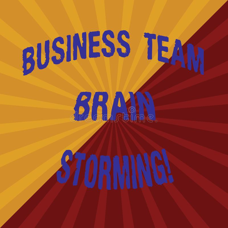 Ord som skriver textaffären Team Brain Storming Affärsidé för mötet för arbete för företags grupp för lagarbete två Tone Sunburst royaltyfri bild
