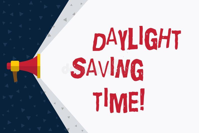 Ord som skriver textdagsljus som sparar Tid Affärsidé för flyttande fram klockor under sommar som sparar elektricitet royaltyfri illustrationer