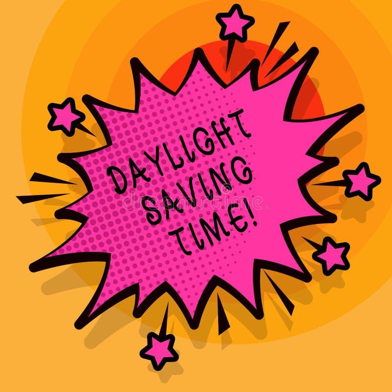 Ord som skriver textdagsljus som sparar Tid Affärsidé för flyttande fram klockor under sommar som sparar elektricitet stock illustrationer