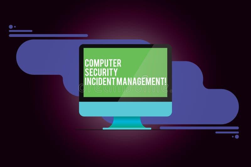 Ord som skriver textdatorsäkerhet infallande ledning Affärsidé för säker cyberteknologi som analysisaging royaltyfri illustrationer