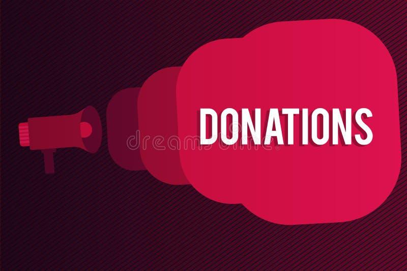 Ord som skriver textdonationer Affärsidé för något som är den fallen för summan för välgörenhet speciellt av pengarmegafonen vektor illustrationer
