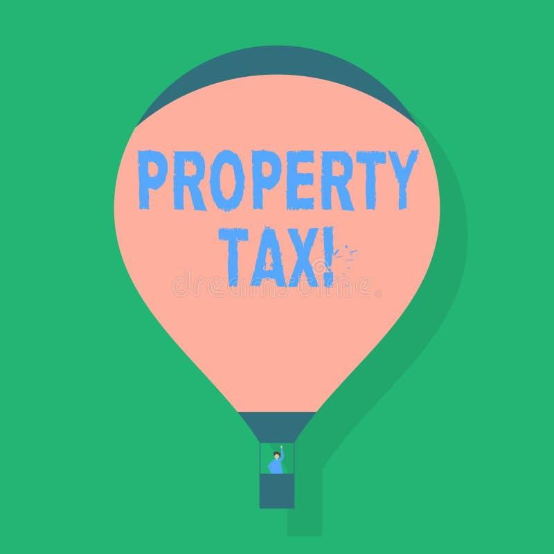 Ord som skriver textfastighetsskatt Affärsidé för räkningar som uttaxeras direkt på din egenskap av varma regeringmellanrumsrosa  vektor illustrationer