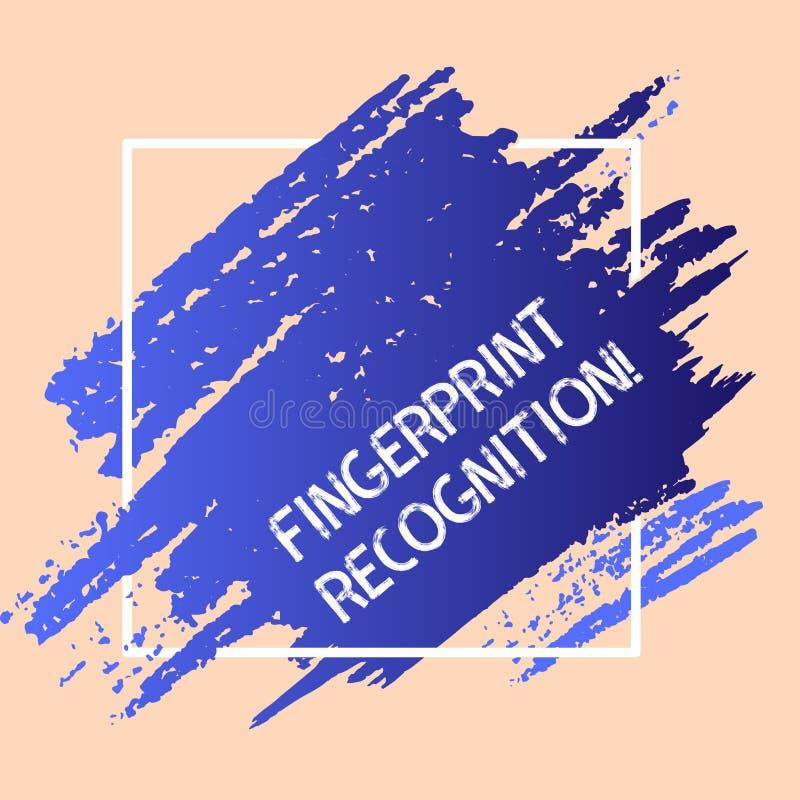 Ord som skriver textfingeravtryckerkännande Affärsidé för att identifiera identitetsindividen som baseras på hans fingerblått royaltyfri illustrationer