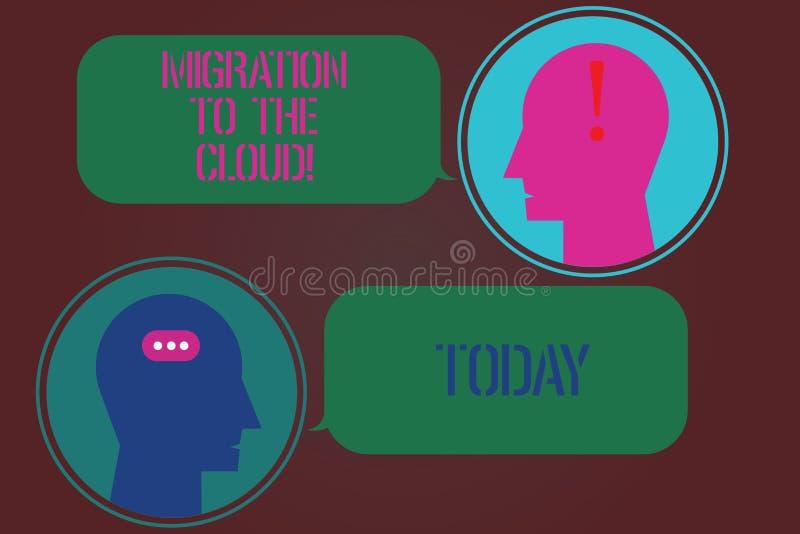Ord som skriver textflyttning till molnet Affärsidé för överföringsdata till budbäraren för apps för hjälpmedel för online-mappla stock illustrationer