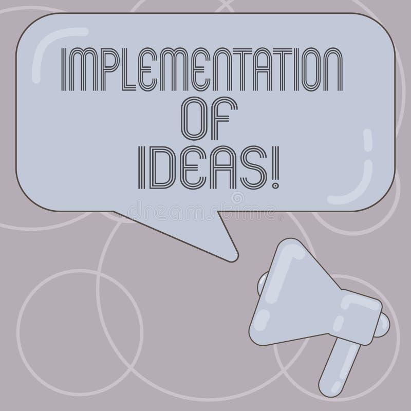 Ord som skriver textgenomförande av idéer Affärsidé för utförande av förslaget eller plan för att göra något megafon royaltyfri illustrationer