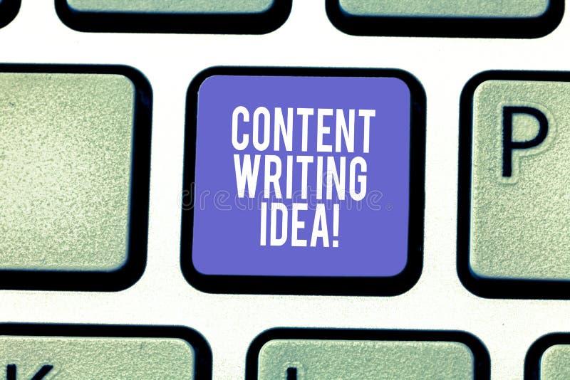 Ord som skriver textinnehållet som skriver idé Affärsidé för begrepp på att skriva aktioner att främja produkttangentbordet arkivfoto