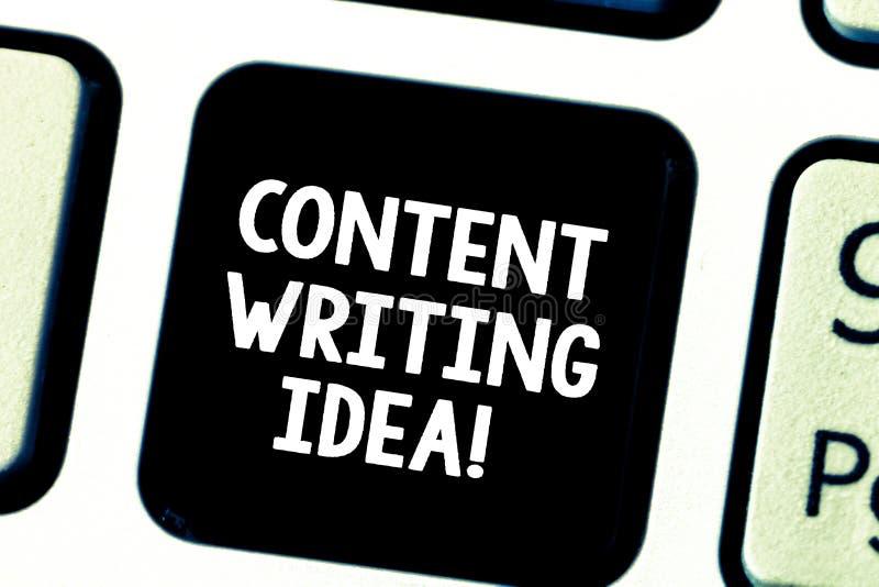 Ord som skriver textinnehållet som skriver idé Affärsidé för begrepp på att skriva aktioner att främja produkttangentbordet royaltyfri foto