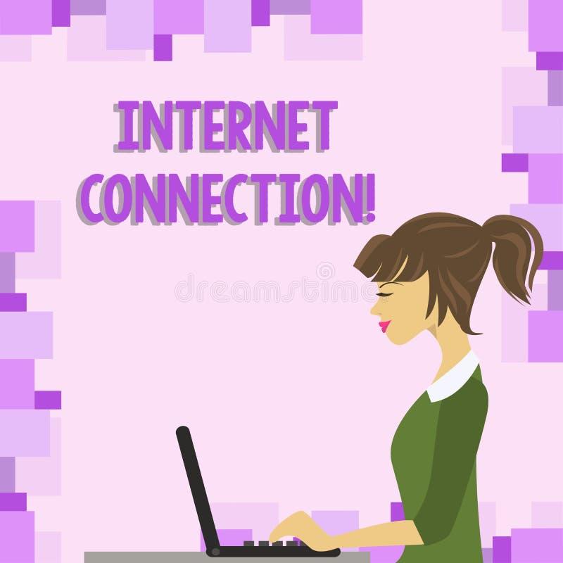 Ord som skriver textinternetuppkoppling Affärsidéen för vägen en får tillträde eller anslutning till internetfotoet stock illustrationer