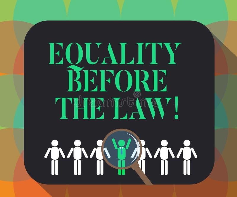 Ord som skriver textjämställdhet för lagen Affärsidé för jämbördiga rätter för rättvisajämviktsskydd för alla som förstorar vektor illustrationer