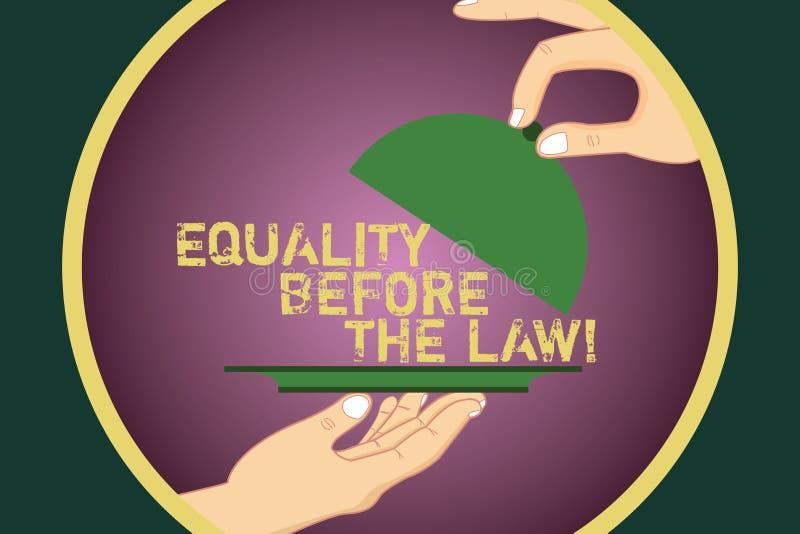 Ord som skriver textjämställdhet för lagen Affärsidé för jämbördiga rätter för rättvisajämviktsskydd för alla Hu analys stock illustrationer