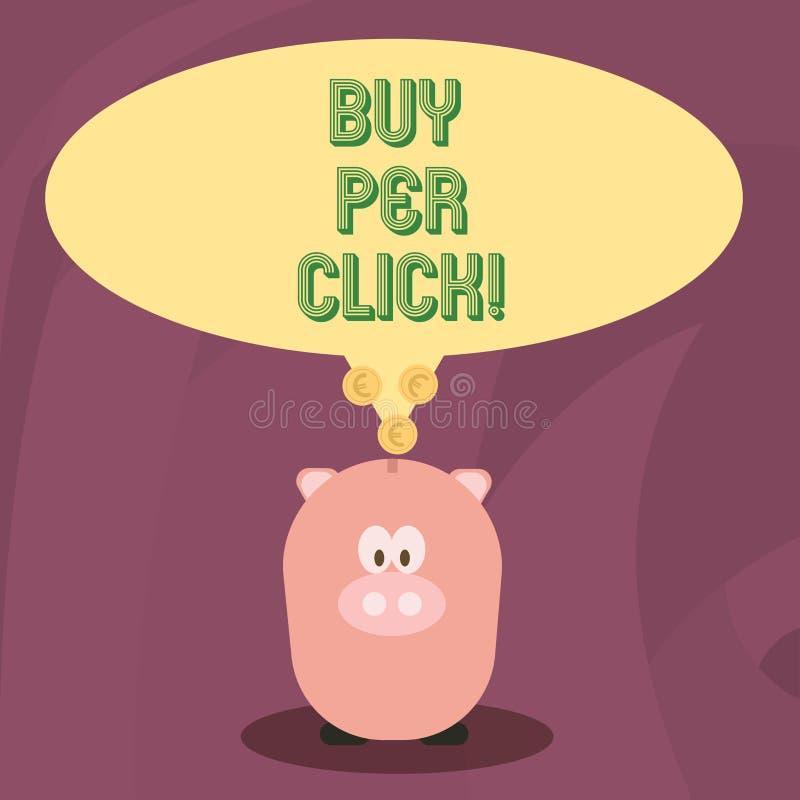 Ord som skriver textköpet per klick Affärsidé för att online-inhandla moderna teknologier för ecommerce ska shoppa vektor illustrationer