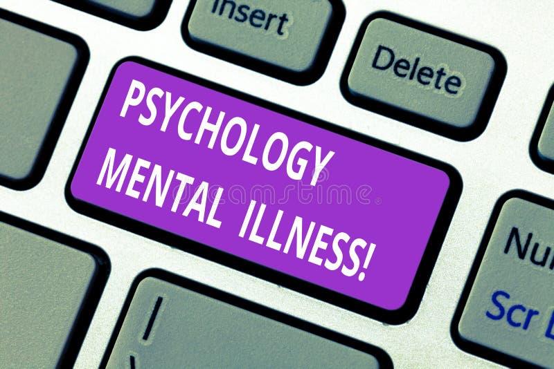 Ord som skriver textpsykologimentalsjukdom Affärsidé för tangent för tangentbord för psykisk störningmental hälsavillkor arkivfoto