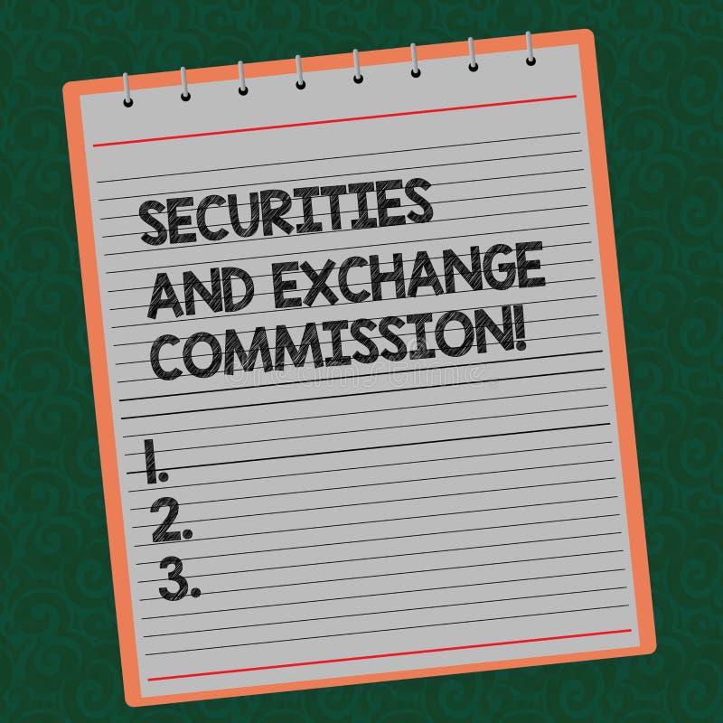 Ord som skriver textsäkerhets- och utbyteskommissionen Affärsidé för säkerhet som utbyter fodrat finansiellt för kommissioner royaltyfri illustrationer