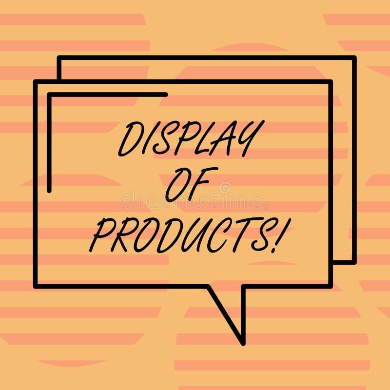 Ord som skriver textskärm av produkter Affärsidé för väg att tilldra och locka köpande allmänhet som använder den rektangulära sh vektor illustrationer