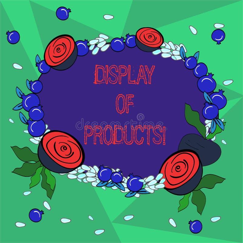 Ord som skriver textskärm av produkter Affärsidé för väg att tilldra och locka köpande allmänhet som använder den blom- showen royaltyfri illustrationer